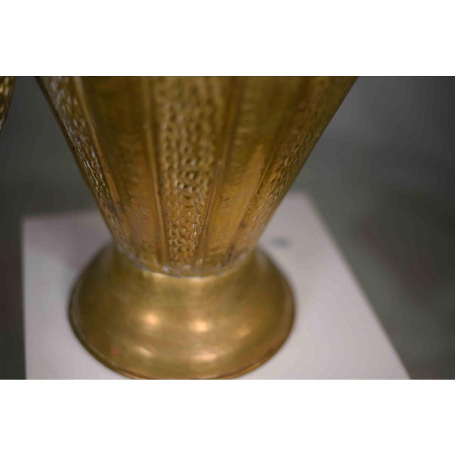 Metal Vintage Classical Hammered Brass Amphora 22 Inches For Sale - Image 7 of 13