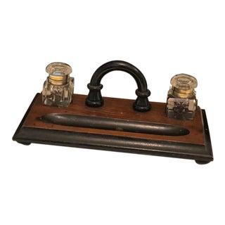 Antique Desk Set With 2 Ink Jars For Sale