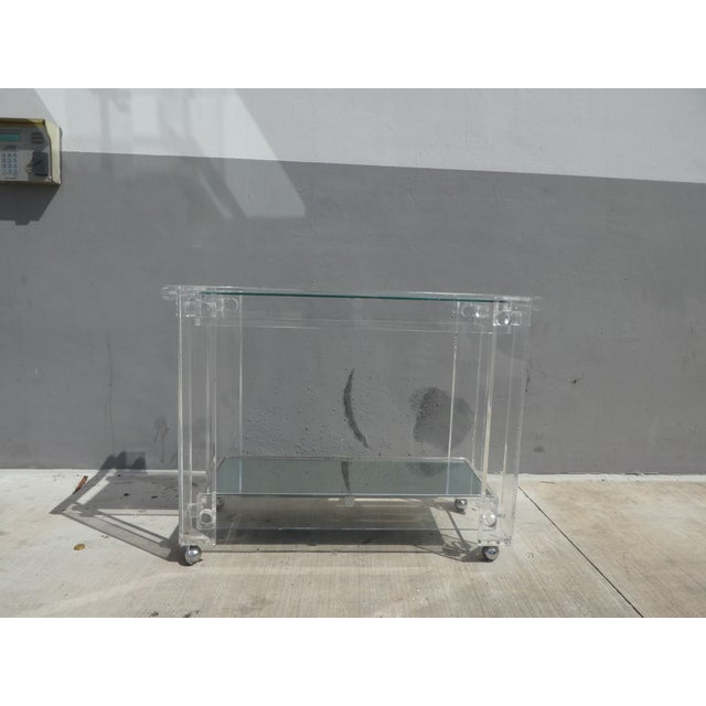 High Quality Lucite Bar Cart sold as found in vintage condition without chipping or cracks but with some very slight...