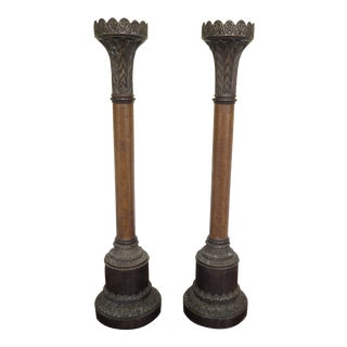 Large Leather Wrapped Bronze Candlesticks - a Pair For Sale