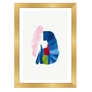 Framed in Gold 'Color Study 5' Watercolor Print on Textured Paper For Sale
