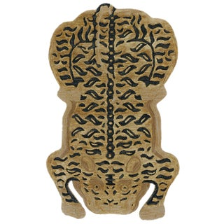 New Limited Edition Tibetan Tiger Wool Cat Tibet Rug 4' X 6' For Sale