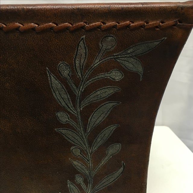 Transitional Brown Leather Planter - Image 3 of 5