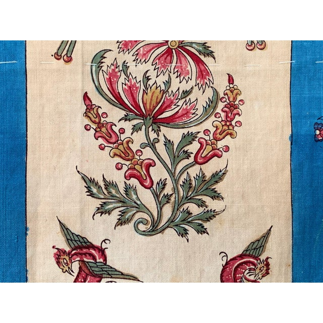 """Mid 19th Century Antique French Fabric Floral And Stripe Indienne Fabric - 25.5x65.75"""" For Sale - Image 5 of 11"""