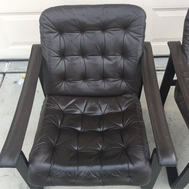Mid-Century Modern Oy Bj Dahlqvist Ab for Bd Furniture Tufted Leather Sling Chairs- A Pair For Sale - Image 3 of 7