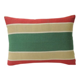 """Red and Green """"Holiday"""" Stripes Decorative Bolster Pillow For Sale"""