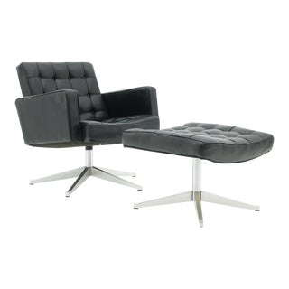 Vincent Cafiero Leather Lounge Chair With Stool, Knoll International 1960s For Sale