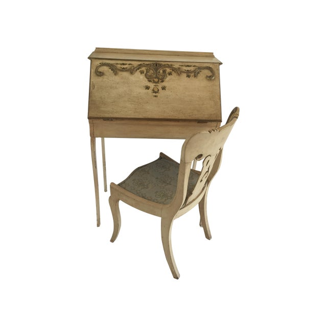 Petite French Desk and Chair - Image 1 of 5