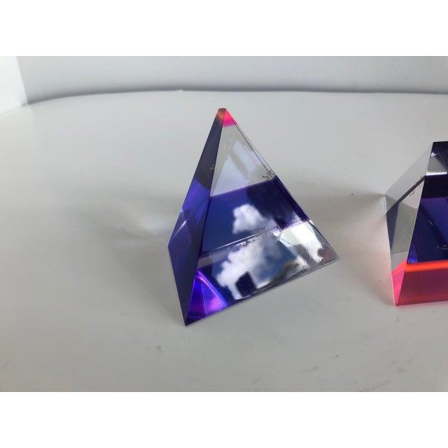 Pair of 1980's Multi -Colored Acrylic 3-D Trapezoids - Signed Ashley Style of Vasa For Sale - Image 10 of 13