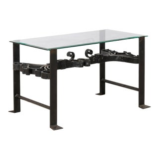 Italian Wrought Iron Black Colored Coffee Table with Glass Top & Ornate Scrolls For Sale