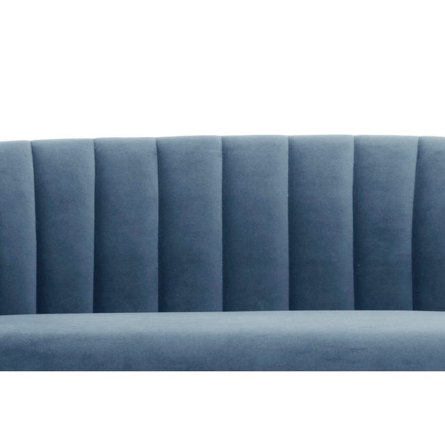Dust Blue, Brushed Brass Channeled Settee For Sale - Image 4 of 6