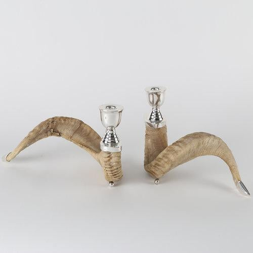 PAIR OF RAM'S HORN AND SILVER CANDLE HOLDERS For Sale - Image 4 of 10