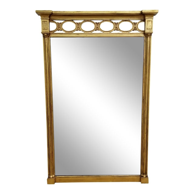 1970s Hollywood Regency John Widdicomb Gold Carved Wood Wall Mirror For Sale