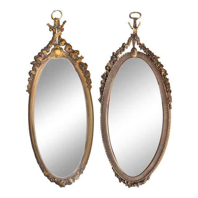 19th C. Renaissance Revival Gesso & Carved Giltwood Oval Beveled Wall Mirrors - a Pair For Sale