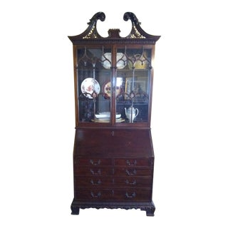 19th Century American Carved Mahogany Slant Front Two-Piece Secretary/Bookcase For Sale