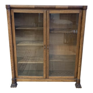 Early 20th Century Tiger Oak Display Cabinet / Bookcase For Sale