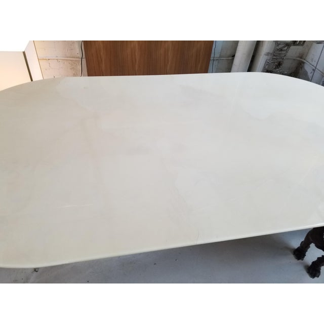 "Mid-Century Modern ""Knife Edge Dining Table"" in Lacquered Goatskin by Karl Springer For Sale - Image 3 of 5"