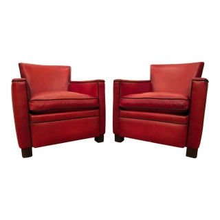 Contemporary Art Deco Style Leather Club Chairs - a Pair For Sale