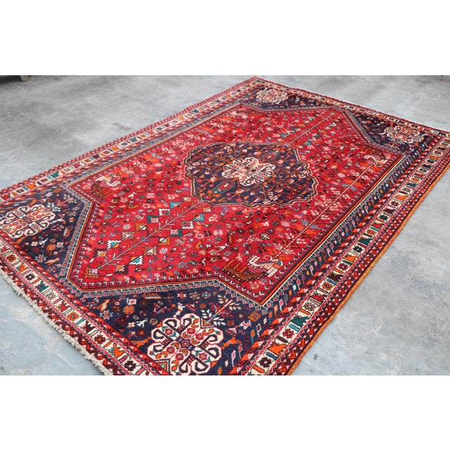 "Textile 1970's Persian Qashqai Area Rug-6'4'x9'4"" For Sale - Image 7 of 10"