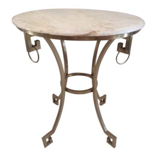 Todd Hase Christelle Gueridon Onyx Top Side Table For Sale
