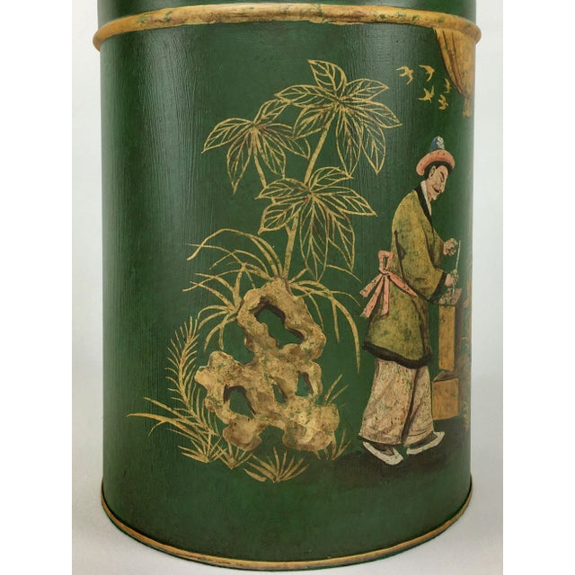 Chinoiserie English Export Tea Caddy #4 Lamp Green Background With Gold Painted Accents For Sale - Image 3 of 6