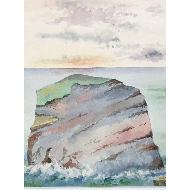 Antique English Watercolor Painting of Sunset on Coastal Rock Formation For Sale - Image 4 of 9