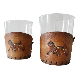 2 Leather & Glass Jockey Cocktail Glasses Horse Racing Mid Century