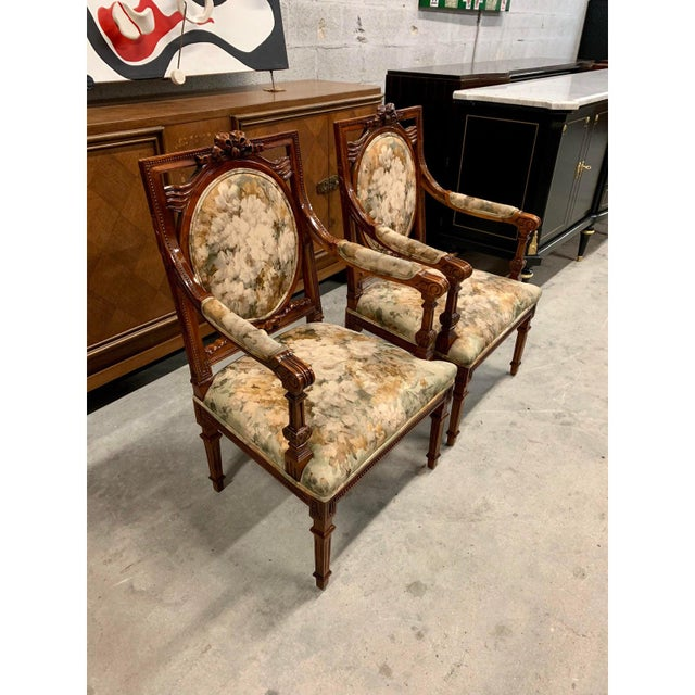 French Louis XVI Solid Mahogany Accent Chairs or Bergère Chairs 1920s - a Pair For Sale - Image 4 of 12