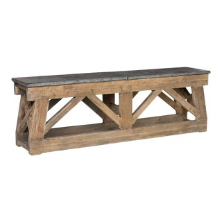 Stone Top Farm Wood Console Table For Sale