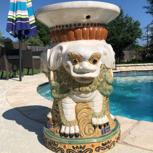 Victorian 1960s Gothic Ceramic 3 Sided Foo Dog Garden Stool For Sale - Image 3 of 13