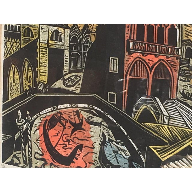 Mid Century Modern Irving Amen Woodblock Print of Venice For Sale In Providence - Image 6 of 10