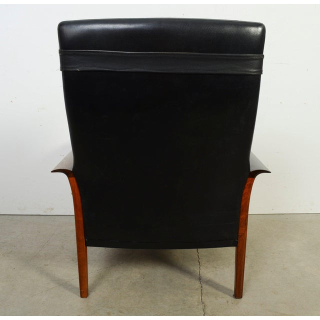 Vatne Møbler Hans Olsen Knut Saeter Vatne Mobler Rosewood Leather High Back Chair For Sale - Image 4 of 8