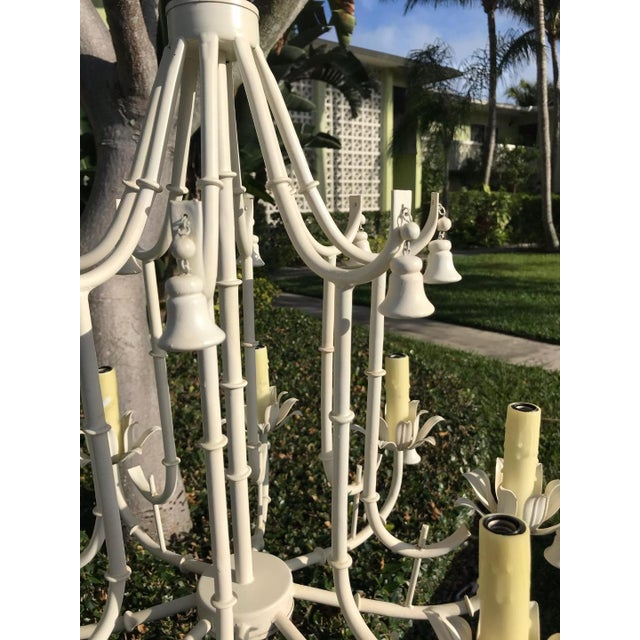 1970s White Faux Bamboo Pagoda Chandelier For Sale - Image 4 of 6