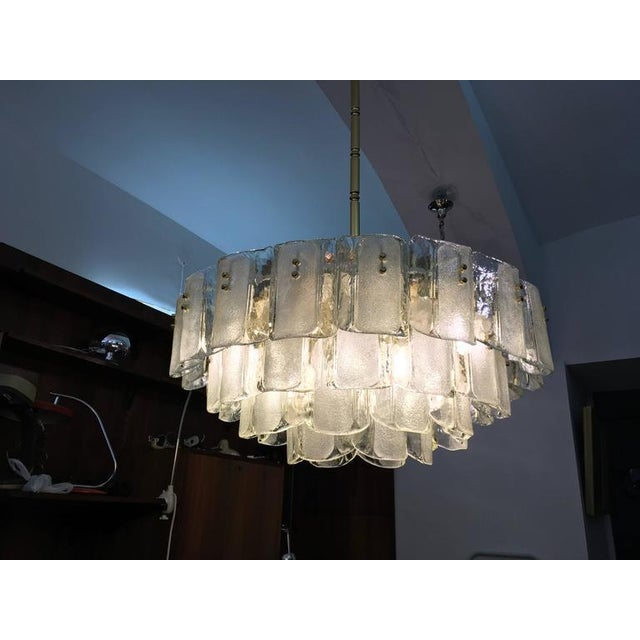 Gold Large Crystal Glass Chandelier, 1960s For Sale - Image 8 of 11