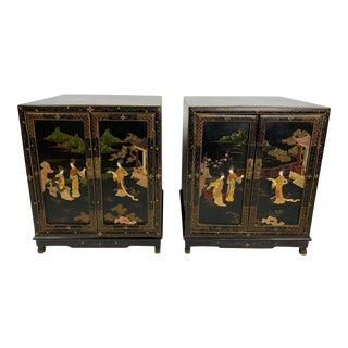 Mid-Century Chinese Black Lacquer Soap Stone Figural Side Stands.- a Pair For Sale