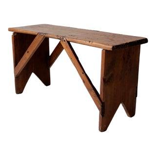 Antique Primitive Wooden Bench For Sale