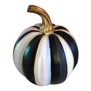 Mackenzie Childs Black and White Courtly Striped Pumpkin For Sale