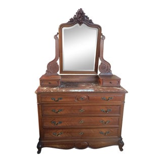 Antique French Dresser With Marble Top and Mirror For Sale
