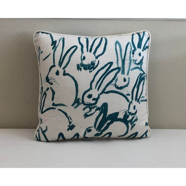 Modern Lee Jofa Bunny Hutch Print in Turquoise Pillow Cover With Piping, Double Sided For Sale - Image 3 of 6