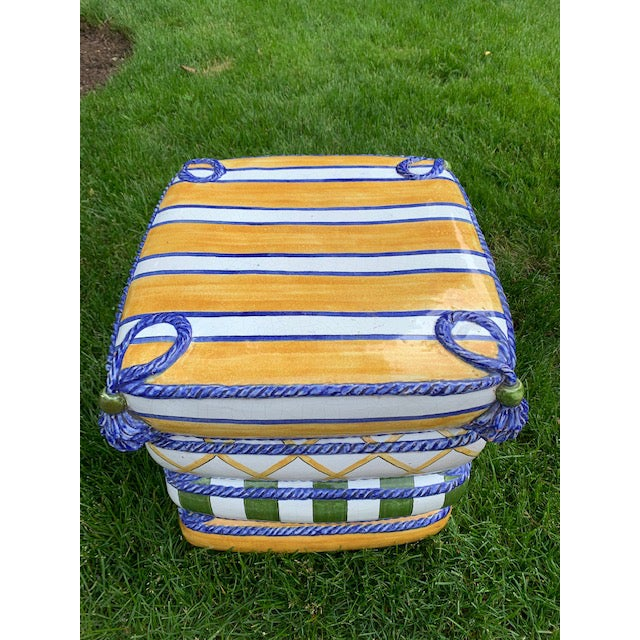 Ceramic 1970s Italian Trompe l'Oeil Stacked Pillow Teracotta Garden Seat For Sale - Image 7 of 10