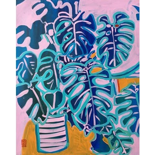 Blue Monstera Contemporary Painting For Sale