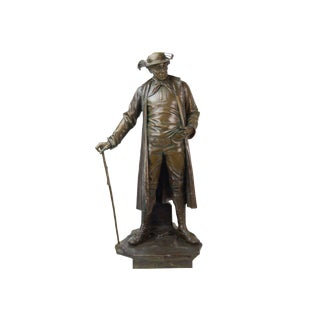 1887 Austrian Bronze Genre Statue of Man in Duster Coat W Cane and Bush Hat For Sale