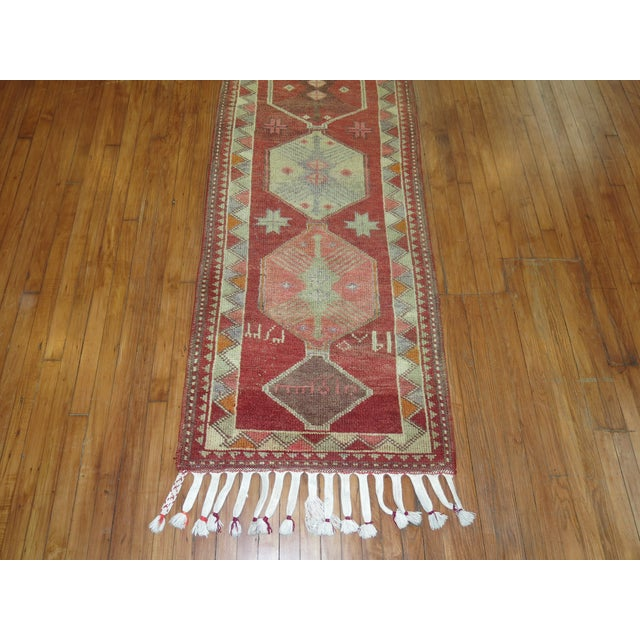 Vintage Anatolian Geometric Runner - 2'9'' x 14' For Sale - Image 4 of 8