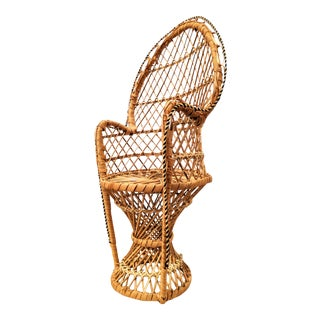 Boho Chic Miniature Wicker Peacock Chair Plant Stand For Sale