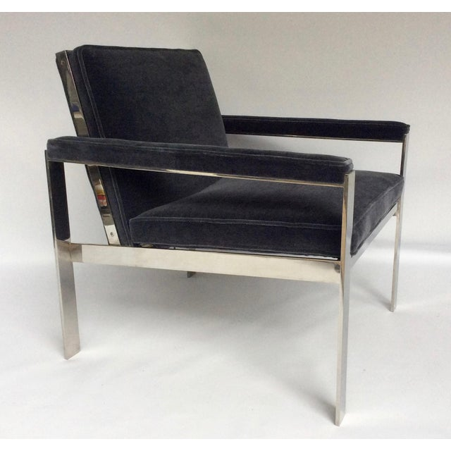 Mid-Century Modern 1970s Knoll Chrome & Mohair Lounge Chairs - A Pair For Sale - Image 3 of 10