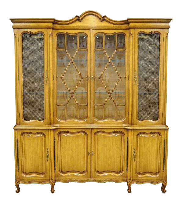 Country French Provincial Breakfront China Cabinet Walnut Fruitwood Bubble  Glass Glass Cabinet For Sale A74