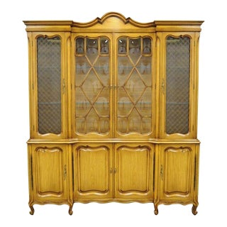 Country French Provincial Breakfront China Cabinet Walnut Fruitwood Bubble Glass For Sale