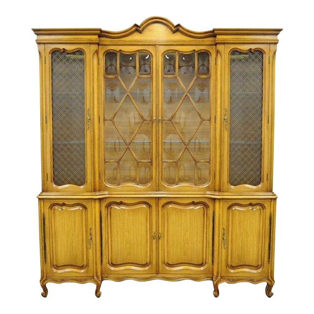 Country French Provincial Breakfront China Cabinet Walnut Fruitwood Bubble  Glass - Country French Provincial Breakfront China Cabinet Walnut Fruitwood