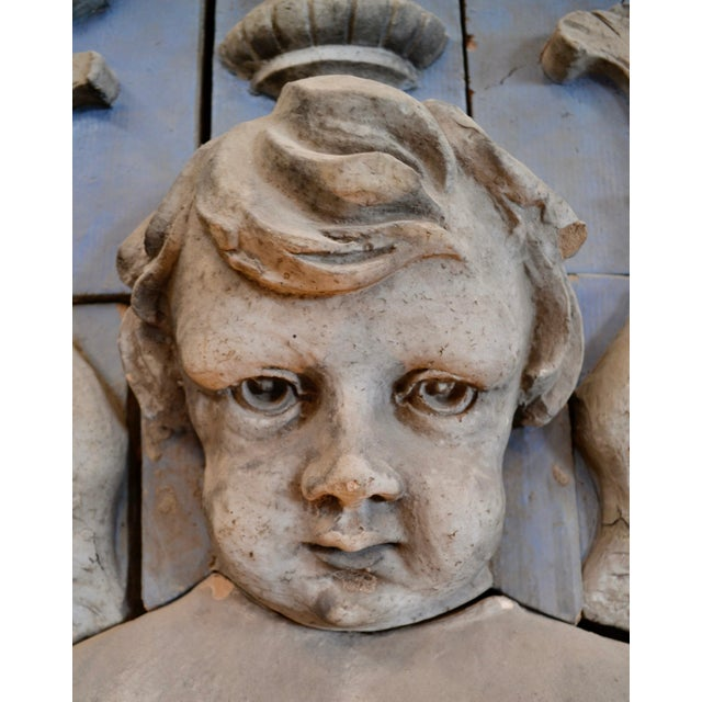White Neoclassical Polychrome Terra Cotta Angel Panel For Sale - Image 8 of 10