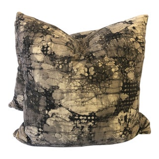 """Groundwork's """"Mineral"""" in Ebony/Taupe Velvet 22"""" Pillows-A Pair For Sale"""
